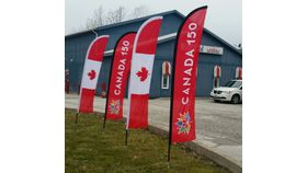 Image of a Flag - 10' Feather with Stand - 150th Canada