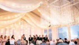 Image of a LARGE WHITE SHEER CEILING TREATMENT