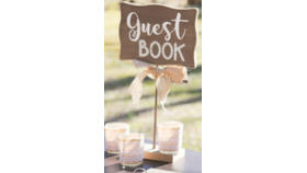 Image of a Rustic Guest Book Table