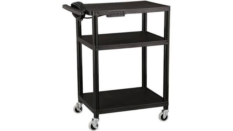 Picture of a Adjustable-Height Plastic AV Cart w/ Power