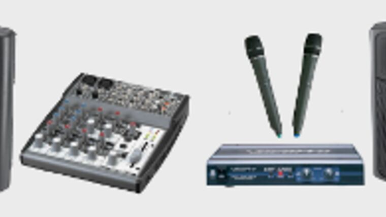 Picture of a PA System - Powered Speakers & Mixer (400 watts)