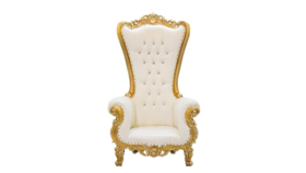 Image of a Flat Back Throne Chair - Gold & White