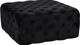 Image of a Black Tufted Velvet Ottoman