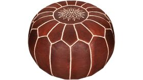 Image of a Moroccan Leather Pouf