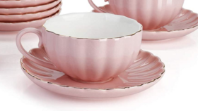Image of a 10 Pink Tea Cups, Saucers & Cake Plates