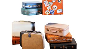 Image of a Suitcase, Black Suitcase with Brown Straps - Medium