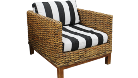 Image of a -- Chair Cushions, Madrid - Black and White Stripe