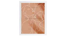 Image of a Art Print, Line Drawing - Women, Peach
