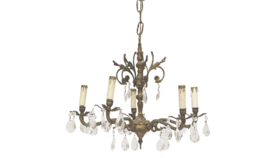 Image of a Chandelier, Brass and Cut Crystal