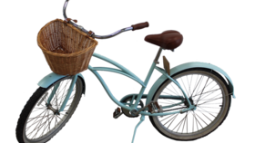 Image of a Bicycle - Aqua, Vintage with Basket
