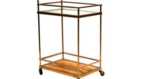 Image of a Bar Cart - Brushed Gold, Glass Shelves