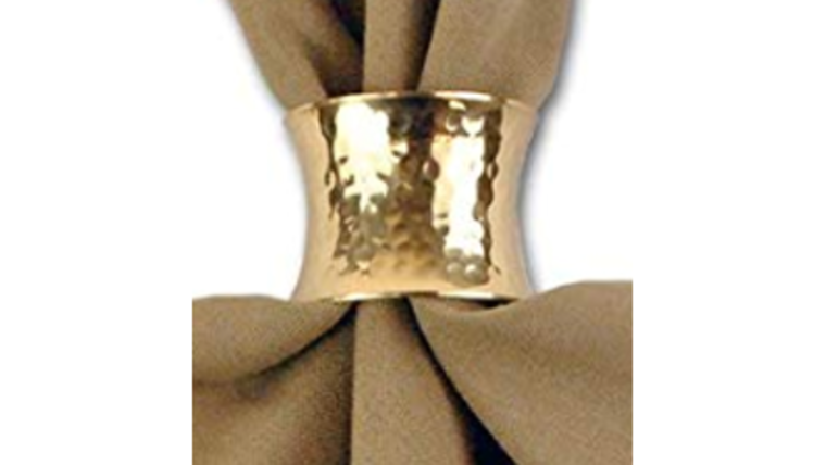 Picture of a Napkin Ring-Hammered Gold
