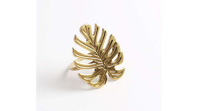 Picture of a Napkin Ring-Gold Monstera