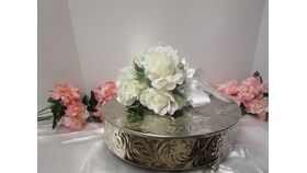 """Image of a Silver Round Cake stand 13.75 x 3.5"""""""