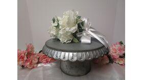 "Image of a Galvanized Round Cake Stand 11"""