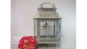 "Image of a "" Presley"" Metal and glass lantern"