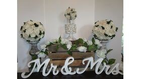 "Image of a "" Mr. & Mrs "" sign white distressed 6"" x 33"""