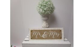 "Image of a "" Mr. & Mrs "" sign white distressed with burlap 5 x 12"""