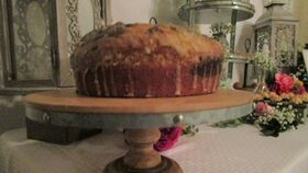 """Image of a Galvanized and wood pedestal cake stand 12"""""""