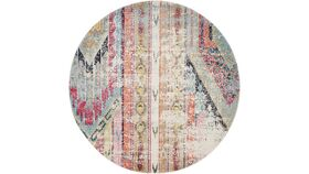 Image of a 9' Round Multi-color Boho Tribal Rug
