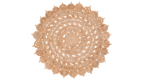 """Image of a 5"""" Jute Round Floral Rug"""
