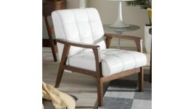 Image of a White Leather Chair w/Wood Arms