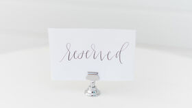 Image of a Short Silver Table Number Holder
