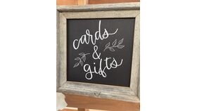 "Image of a ""Cards & Gifts"" Sign - Rustic Square Frame"
