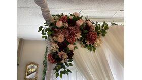 """Image of a Arch Floral - Left - Burgundy/Blush/Mauve 36""""X32"""""""
