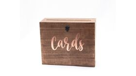"""Image of a Wood Box 10""""x12""""x4"""" """"Cards"""" in Blush - Reception Card Holder"""