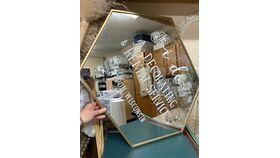 Image of a Gold Mirror - HEXAGON
