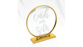 "Image of a ""Cards & Gifts"" - Gold Round Mirror"