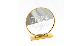 """Image of a """"Please Sign"""" - Round Gold Mirror"""