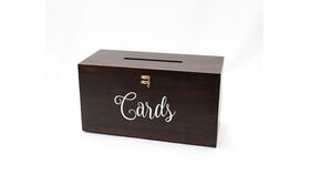 """Image of a Dark Wood Card Box - Rectangular with """"Cards"""""""