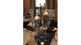Image of a Stemmed Cylinder Trio with Underwater Birch, Floating Candle & Greens