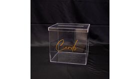 """Image of a Acrylic Card Box with Gold """"Cards"""""""