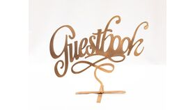 """Image of a """"Guestbook"""" Free Standing Copper Cut Out"""
