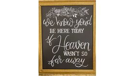"""Image of a """"We Know You Would Be Here Today if Heaven Wasn't So Far Away"""" Chalkboard with Gold Frame"""
