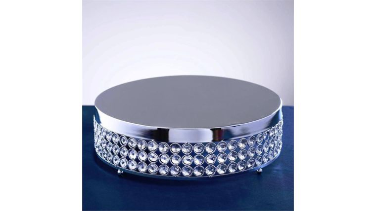 """Picture of a 15"""" Silver Bejeweled Round Cake Stand"""