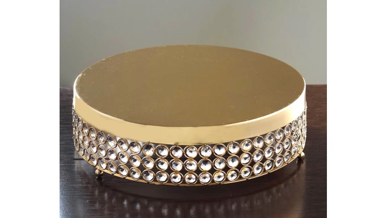 """Picture of a 14"""" Gold Bejeweled Round Cake Stand"""