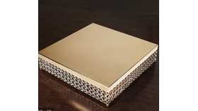 """Image of a 16"""" Gold Bejeweled  Square Crystal  Cake Stand"""