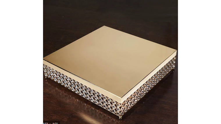 """Picture of a 16"""" Gold Bejeweled  Square Crystal  Cake Stand"""