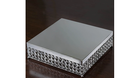 "Image of a 16"" Silver Bejeweled Square Crystal Cake Stand"
