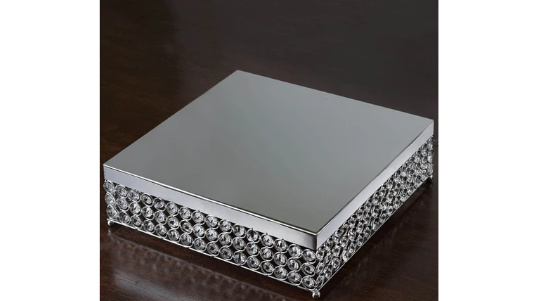 "Picture of a 16"" Silver Bejeweled Square Crystal Cake Stand"