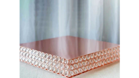 "Image of a 13"" Rose Gold Bejeweled Pyramid Cake Stand"