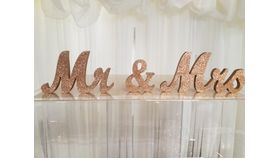 Image of a Rose Gold Script Mr & Mrs