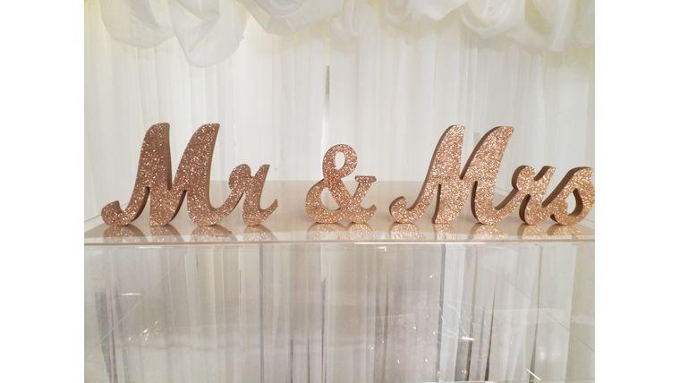 Picture of a Rose Gold Script Mr & Mrs
