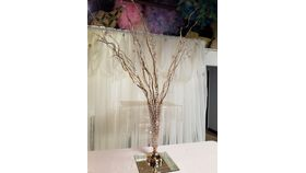 Image of a Gold Bejeweled Vase w/Curly Willow and hanging crystals