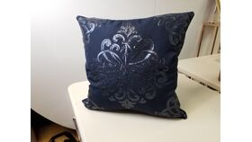 Image of a Navy Blue Filigree Pillow
