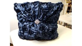 Image of a Navy Blue Rosette Pillow w/Silver Broach